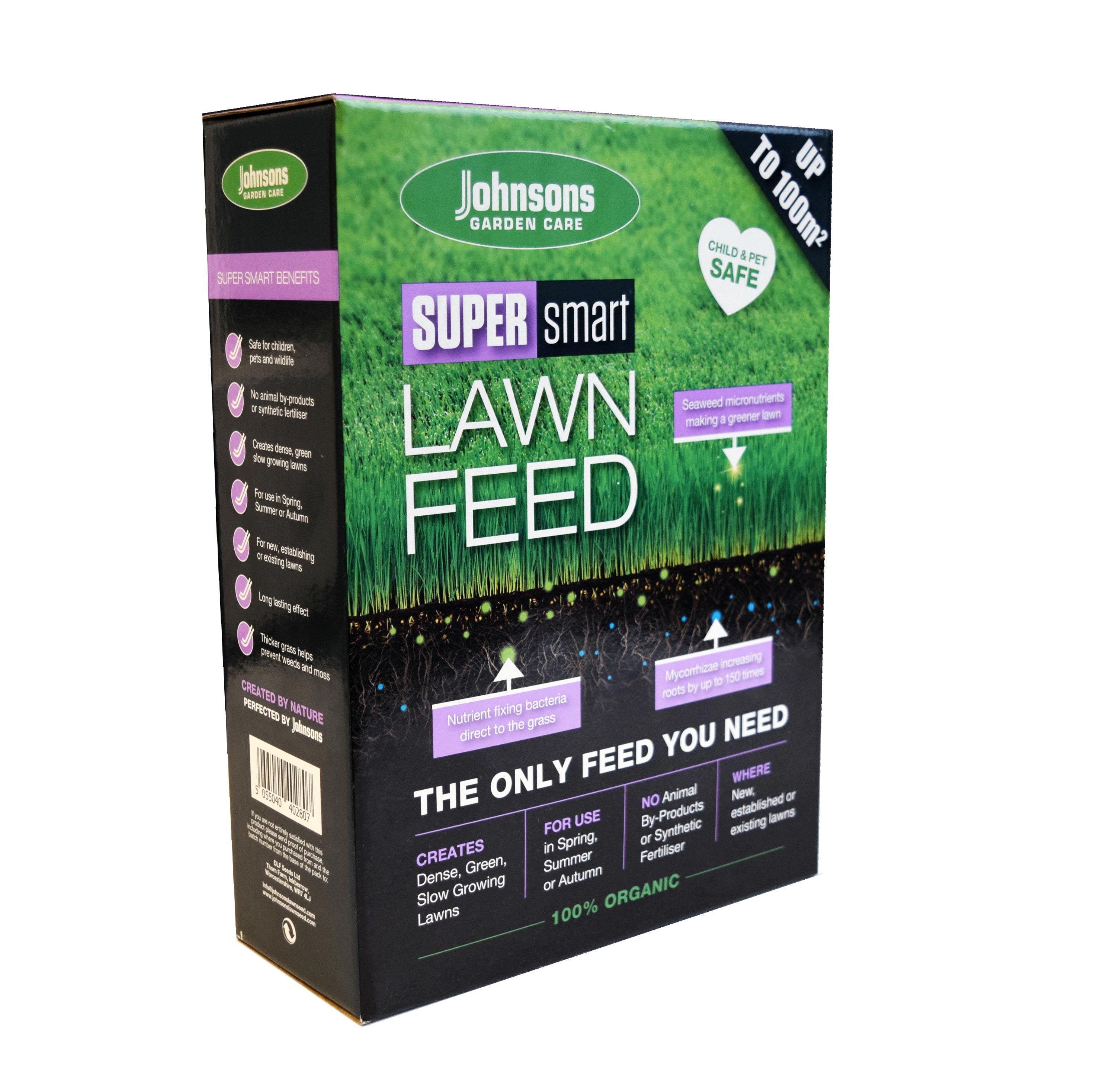 Super Smart Lawn feed 100% Organic Ingredients child and pet friendly